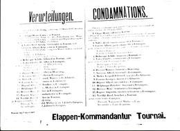 TOURNAI GUERRE 14 18  AFFICHE ETAPPEN KOMMANDANTUR ORIGINAL PEU COURANT USE PAR LE TEMPS LIRE DESCRIPTION - Affiches