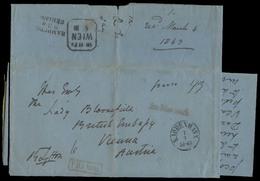 DENMARK. 1863 (27 Feb). Kopenhagen - Austria / British Embassy (4 March). Large Stampless EL Full Text, Cash Paid 43 + R - Danemark