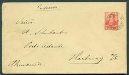 Argentina - Stationery. 1896 (18 July). BA / Sucursal Darsena - Germany / Harburg. 5c Intense Red Stat Env - Pointed Fla - Argentina