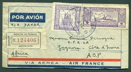 PARAGUAY. 1937. Asuncion - Costa De Marfil / Africa. Carta Certificada Via Aerea - Dakar. Raro Destino. M. Bonito. 6 Sel - Paraguay