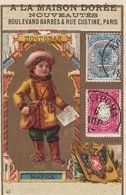Trade Card (TC): Stamps & Boy W/ Letter , 1880-90s ; Russia - Stamps (pictures)