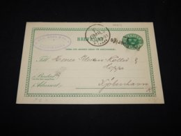 Sweden 1891 5ö Green Fra Sverige Stationery Card To Denmark__(L-26214) - Postwaardestukken