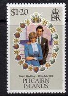 Pitcairn QEII 1981 Royal Wedding $1.20 Value, Wmk. Inverted, MNH, SG 221w - Stamps