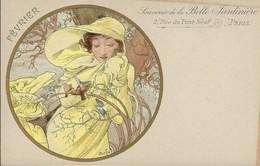 Art-Nouveau / Jugendstyl  - Signé  ALPHONSE MUCHA . Souvenir De La Belle Jardinière - 2 Rue Pont-Neuf -PARIS ( Février - Mucha, Alphonse