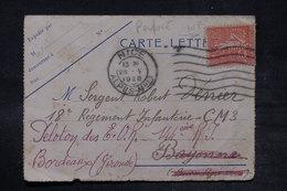 FRANCE - Type Semeuse Perforé Sur Carte Lettre De Nice Pour Bayonne Et Redirigé Vers Bordeaux En 1928 - L 26716 - Perforés
