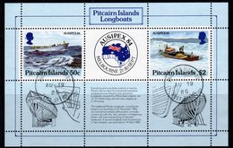Pitcairn QEII 1984 Ausipex Island Longboats MS, Used, SG 263 - Stamps