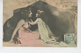 FEMMES - FRAU - LADY - LITTLE GIRL - MAEDCHEN - Jolie Carte Fantaisie Femme Et Fillette Dans Une Grotte - Vrouwen