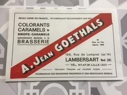 Buvard Ancien  BIÈRE BRASSERIE GOETHALS LAMBERSART NORD LILLE - Liquor & Beer