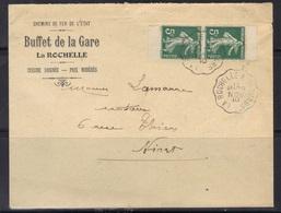 Semeuse N°137 Paire De Carnet Sur Enveloppe Buffet De La Gare De La Rochelle, Ambulant La Rochelle à Thouars, 1910. - Marcophilie (Lettres)