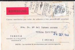 1968 MADRID TARJETA REEMBOLSO CERTIFICADO MADRID -CARTAS A OVIEDO, MARCA INTERVENIDO EN OVIEDO -SA1 - 1931-Today: 2nd Rep - ... Juan Carlos I