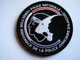 ECUSSON TISSUS PATCH POLICE NATIONALE DCPJ / DRPJ CORSE AJACCIO ETAT EXCELLENT SUR VELCROS - Polizia