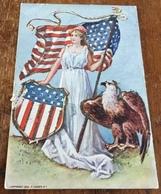 Lady Liberty Holding American Flag Beside Eagle ~ 1906 P. Sander N. Y.  Embossed Postcard - Patriotic