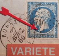 R1917/119 - NAPOLEON III N°14A LUXE Sur ✉️ - RODEZ à ANDUZE (Gard) - VARIETE ➤➤➤ Gros Point Blanc Devant Le Cou - 1853-1860 Napoleon III
