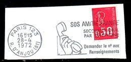 FRANCE. Flamme Sur Fragment Ayant Circulé En 1972. Téléphone/SOS Amitié. - Telecom