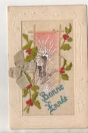 CARTE BRODEE ET PEINTE - BONNE ANNEE 1921 - Unclassified
