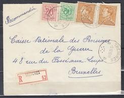 Aangetekende Brief Van Treignes Naar Bruxelles - 1936-51 Poortman