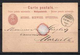 ENTIER POSTAL 1880 BURGDORF MARSEILLE - Interi Postali