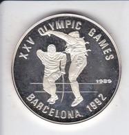 MONEDA DE PLATA DE CAMBOYA DE 20 RIELS DEL AÑO 1989 OLYMPIC GAMES BARCELONA 1992 (SILVER-ARGENT) - Camboya