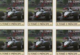 S.Tomé E Principe 2003  -   Grand Prix/Formule 1  -  McLaren MP4  -  David Coulthard   -  6v Feuillet Neuf/Mint - Cars