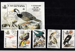 Guyana 1991 Mi Nr  3570 - 3574 + Blok Nr  127, Vogel, Bird, Flamingo, - Guyana (1966-...)