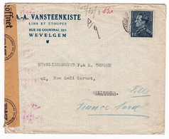 Lettre Belgique Vansteenkiste Lin Étoupe Rue De Courtrai Wevelgem Hellemmes Nord Censure WW2 Seconde Guerre Mondiale - Belgio