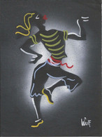 ART SIGNED - Dancing Dancer Danseur - Folk Art Signed Signe By WULF Black Cardboard ( 24x18cm ) 70'/80' - Popular Art