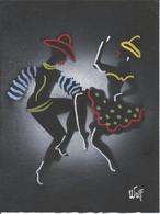 ART SIGNED - Dancing Dancer Danseur Et Danseuse - Folk Art Signed Signe By WULF Black Cardboard ( 24x18cm ) 70'/80' - Popular Art