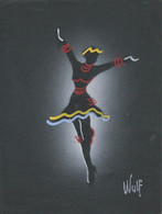 ART SIGNED - Dancing Dancer Danseuse - Folk Art Signed Signe By WULF Black Cardboard ( 24x18cm ) 70'/80' - Popular Art