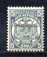 XP5071 - SWAZILAND 1889 , 5 Sh/-   Yvert N. 8  Nuovo  * - Swaziland (...-1967)