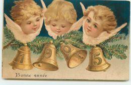 N°12241 - Carte Gaufrée - Bonne Année - Têtes D'anges Au-dessus De Cloches 1905 - New Year