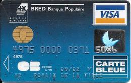 -CARTE+-PUCE-MAGNETIQUE-CB-CREDIT-BRED-Banque POPULAIRE-VISA--09/02-SCHLUMBERGER- 04/00-TBE-RARE - France