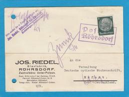"NOTSTEMPEL ""RÖHRSDORF BEI ZWICKAU"",BÖHMEN. - Occupation 1938-45"