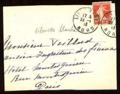 """138 - 10c Rouge Semeuse - Variété """"""""Silhouette Très Pâle"""""""" - Sur Devant De Lettre De LILLE-GARE Pour PARIS - 1913 - 1906-38 Sower - Cameo"""