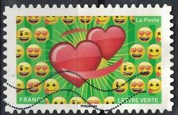 France 2018 Oblitéré Used Emoji Les Messagers De Vos Émotions Coeurs Liés Y&T 1565 - 2010-.. Matasellados