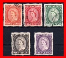SAN VICENTE ---  ( AMERICA DEL NORTE ) 5 SELLOS AÑO 1955 QUEEN ELIZABETH II - St.Vincent (1979-...)