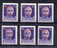 Italia - 1944/45 - Repubblica Sociale - Lotto 6 Francobolli  Da 50 Centesimi Sovrastampati - Nuovi - (FDC14819) - 4. 1944-45 Repubblica Sociale