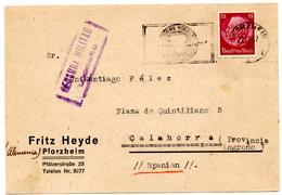 CP De Pforzheim (29.12.37) Pour Calahorra Espagne Spain Censura Militar Logrono - Allemagne