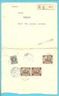 182+188A (Dendermonde)+193 Op Brief Aangetekend Postagentschapstempel (Agence) * LIEGE /LUIK 36 * Naar Brasil - Belgique