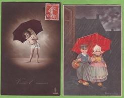 2 CPA Scene Enfant Avec Parapluie 1 Signée Illustrateur Colombo - Enfants