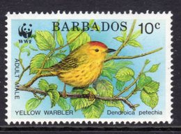 BARBADOS - 1991 ENDANGERED SPECIES WWF 10c WARBLER FINE MNH ** SG 948 - Barbados (1966-...)