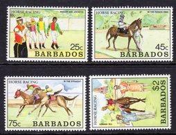 BARBADOS - 1990 HORSE RACING SET (4V) FINE MNH ** SG 915-918 - Barbados (1966-...)