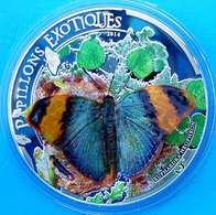 REPUBLIQUE CENTRAFRICAINE 1000 F 2014 SILVER PROOF 3D BUTTERFLY PAPILLONS EXOTIQUES WILDLIFE WEIGHT 25g TITOLO 0,925 MIN - Central African Republic