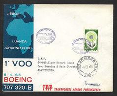 Portugal Premier Vol TAP Lisbonne Luanda Angola Johannesburg Afrique Du Sud 1965 First Flight Lisbon South Africa Cover - Poste Aérienne
