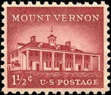 1956 USA Mount Vernon Stamp Sc#1032 History Architecture George Washington Relic Post - George Washington