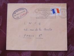France 1968 Military Cover Genie Sarrebourg (deer Horns Slogan) (Vaguemestre Cancel) To I.N.P.E. Paris - Flag - Franchise Stamps