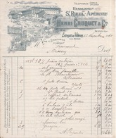77 Éts SAINT-RIEUL - Apéritif Entrepot De VILLENOY Près MEAUX - Facture Illustrée - Francourt OISSERY 1910 Timbre Fiscal - Meaux