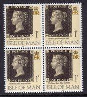 ISLE OF MAN - 1990 1p PENNY BLACK ANNIVERSARY IN BLOCK OF 4 FINE MNH ** SG 442 X 4 - Isle Of Man