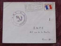 France 1968 Military Cover Monthlery (tower Slogan) (Vaguemestre Cancel) To I.N.P.E. Paris - Flag - Anchor - Franquicia Militar (Sellos)