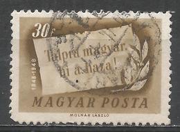 Hungary 1948. Scott #833 (U) ''On Your Feet Hungarian, The Homeland Is Calling'' * - Oblitérés