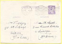 FRANCIA - France - 1944 - 1,20F Iris - Carte Postale - Intero Postale - Entier Postal - Postal Stationery - Viaggiata Da - Postales Tipos Y (antes De 1995)